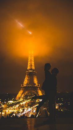 Mid night in Paris in mist.