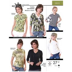 Womens T-Shirts Jalie Sewing Pattern 2805.