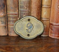 Antique Church Pew Number English Victorian Gilded Brass 6 or 9 Marker Plaque Mount