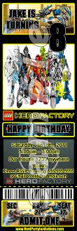 LEGO HERO FACTORY TICKET STYLE INVITATIONS (WITH ENVELOPES)
