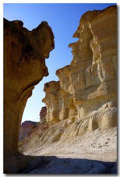 Mazarrón la ciudad encantada, conjunto de dunas formadas por el agua y el viento, Murcia España