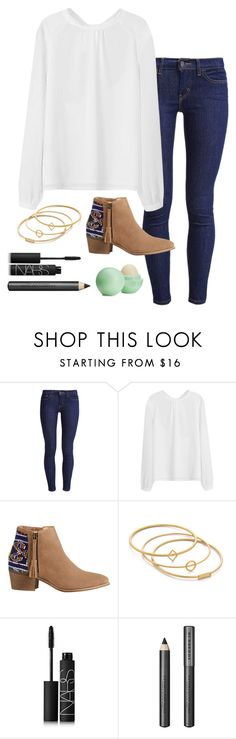 """""""I hate waiting for texts"""" by skatetofreedom ❤ liked on Polyvore featuring Levi's, HOWSTY, Madewell, NARS Cosmetics, Burberry and Eos"""
