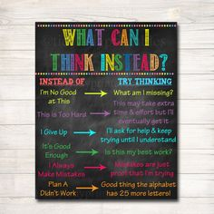 Classroom Decor, What Can I Think Instead Classroom Poster, Counselor Office Poster, Social Work Office Art, Educational Motivational Poster – Sylvia Adel Basta – art therapy activities Classroom Motivational Posters, Classroom Posters, School Classroom, Classroom Decor, Classroom Board, Bulletin Boards, Motivational Sayings, Music Classroom, Quotes Inspirational