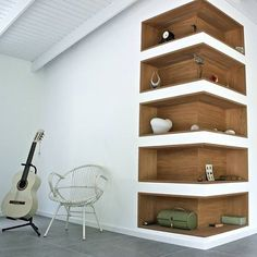 Super cool corner shelves...closet inspiration! #laclosetdesign #interiordesign #design