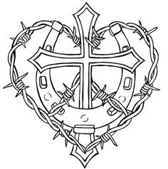 Cross with Horseshoe and Barbed Wire Tattoo by Metacharis on DeviantArt Cowgirl Tattoos, Western Tattoos, Horse Tattoos, Cross Coloring Page, Coloring Pages, Coloring Rocks, Adult Coloring, Barbed Wire Tattoos, Barbed Wire Drawing