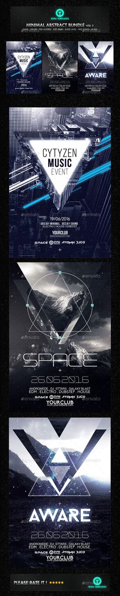 Minimal Futuristic Abstract Flyer Bundle Template #design Download: http://graphicriver.net/item/minimal-futuristic-abstract-flyer-bundle/12480701?ref=ksioks