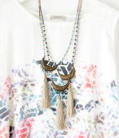 Tassel Tribal Necklace Tassel Boho Necklace by stellacreations