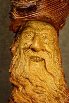 Wood Carving Wood Spirit Wizard A Unique by TreeWizWoodCarvings