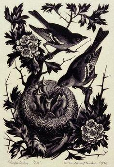Agnes Miller Parker (British)  Chaffinches. 1936. (wood engraving)