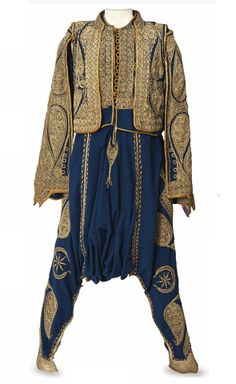 AN OTTOMAN COURIER'S ENSEMBLE TURKEY. Early comprising very full gathered trousers and two jackets of blue facecloth embroidered in gilt thread; together with a pair of Turkish slippers Historical Costume, Historical Clothing, Arab Clothing, Empire Clothing, Vintage Outfits, Vintage Fashion, Folk Costume, Costumes, Early 2000s Fashion