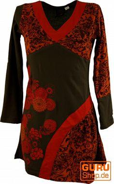 #Tunika-Kleid in #Rot und #Braun, #asymmetrisch mit #ornamentalem Muster.