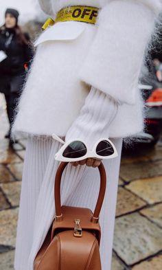 white sunnies // fuzzy sweater // camel leather bag // street style // details // #womensfashion #streetstyle #styleinspo