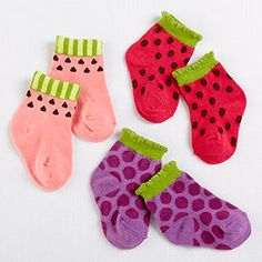 A basket brimming with summer fruit-inspired socks is a baby footís best friend. The watermelon is ripe, the strawberries are fresh-picked, and you're going to like the grapes a whole bunch!   http://timelesstreasure.theaspenshops.com/fruity-booty-socks.html