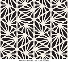 Vector Seamless Black and White Floral Organic Triangle Lines Hexagonal Geometric Pattern Abstract Background by Samolevsky, via Shutterstoc...