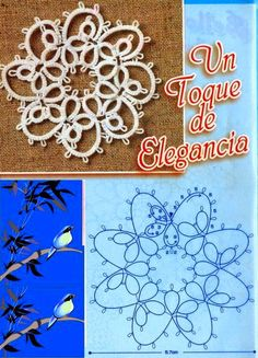 tatted flower - worked well for needle tatting Tatting Earrings, Tatting Jewelry, Tatting Lace, Shuttle Tatting Patterns, Needle Tatting Patterns, Crochet Motifs, Crochet Patterns, Handmade Crafts, Diy And Crafts