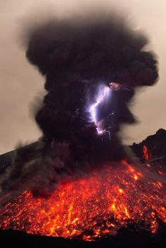 Volcano lightning > volcanoes and lightning