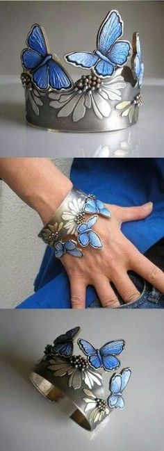 Blue butterfly bracelet - Jolanta Bromke: silver, natural leather, hand painted with water and abrasion resistant paint.