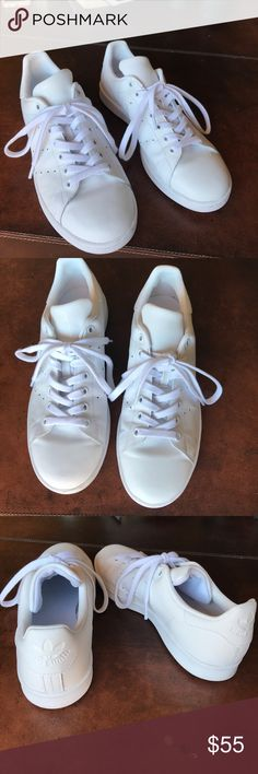 Adidas Stan smith sneakers all white❗️✔️ In perfect condition tops and insides are super clean bottoms barely have any dirt. Size men's 7 women's 8 adidas Shoes Sneakers