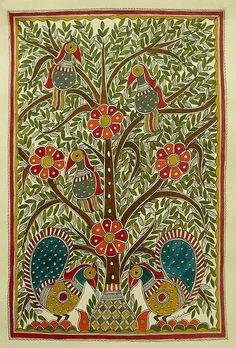 India Madhubani Painting Folk Wall Art 'Celebrating The Tree of Life' Novica Madhubani Paintings Peacock, Kalamkari Painting, Madhubani Art, Indian Artwork, Indian Folk Art, Indian Paintings, Gond Painting, Mural Painting, Art Indien