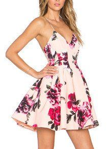 Floral Dress Spring - Multicolour Spaghetti Strap Backless Floral Print Flare Dress - Crystalline