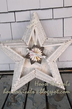 DIY star 'shadowbox' with suspended ornament made from rolled book pages!!