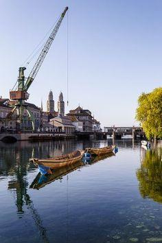 Limmat river and port crane, Zurich, Switzerland. Switzerland, River, Crane Car, Rivers
