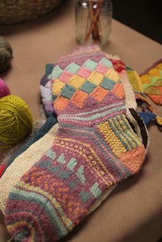 Behind the scene photo from the video shoot for Knitting Entrelac with Kathryn Alexander.