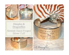 Hand Forged Silver Quote Bracelet - Newest Mixed Metal Design From Dimples and Dragonflies!  https://www.etsy.com/listing/203253826/custom-made-hand-forged-cuff-bracelet?ref=shop_home_active_1