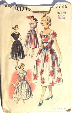 Vintage 1940s Dress Pattern Advance 5736 28 bust size 10 XS on Etsy, $12.00