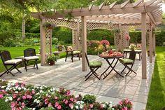 46 Pergola Design Ideas To Design Your Perfect Wooden Pergola Outdoor Decor, Large Backyard Landscaping, Garden Design, Small Backyard, Large Backyard, Patio Design, Pergola Designs, Outdoor Dining, Romantic Backyard