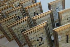 Peruse your local store for sheet music and simple picture frames. Age the sheet music with tea bags for the perfect table numbers for your vintage wedding.
