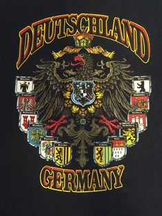 Fruit of The Loom Deutschland Germany Black T Shirt Size Medium | eBay