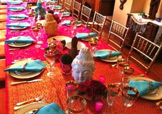 Bright Indian table setting for the perfect Hundred-Foot Journey Movie Party u2013 In Theaters This Friday! | The Spice of Life | Pinterest | Movie party ... & Bright Indian table setting for the perfect Hundred-Foot Journey ...