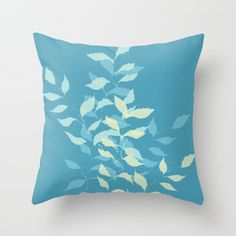 Teal Botanical Throw Pillow #pillow #throwpillow #teal #botanical #decor #decorating #design #leaves #foliage