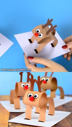 We've got an extremely fun one for you, let's make a construction paper reindeer craft for kids together! navidad Paper Reindeer – Christmas Craft Idea with Template Christmas Crafts For Kids, Holiday Crafts, Kids Crafts, Easy Crafts, Christmas Diy, Christmas Decorations, Christmas Ornaments, Reindeer Christmas, Craft Kids