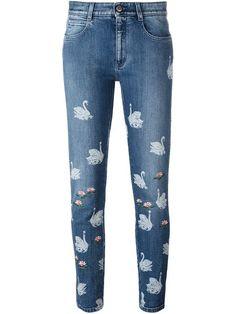 Stella McCartney джинсы 'Skinny Boyfriend' с лебедями