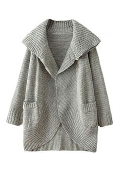 1bcedd659d4dd SheIn offers Grey Lapel Long Sleeve Pockets Knit Cardigan   more to fit  your fashionable needs.