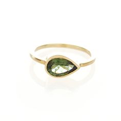 Dear Rae // 9ct yellow gold, pear shaped, Green Tourmaline ring
