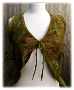 Green Woodland Pixie Vest Medium to XL Adjustable Pixie by folkowl, $165.00