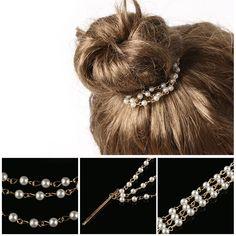 Arany hajlánc Pearl Chain, Hair Pins, Bobby Pins, Hair Accessories, Shapes, Pearls, Chic, Beauty, Women