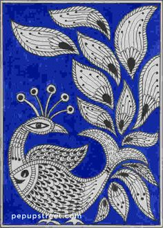 Pep Up Street - Blue Peacock Madhubani Mithila Painting