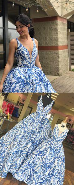 elegant white and blue print long prom dress, 2018 long prom dress, spring graduation dress formal evening dress