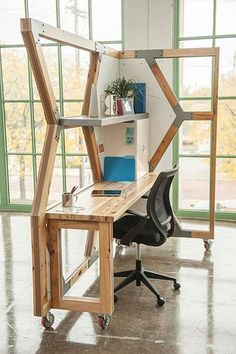 This modular office was made of salvaged wood from derelict buildings.
