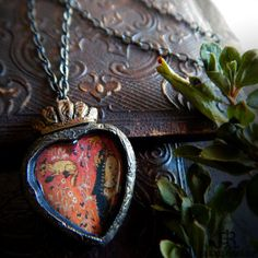 The Lady & The Fox  Tapestry Sacred Heart Amulet by ParrishRelics