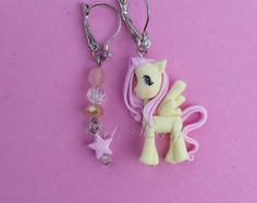 Earrings fluttershy fimo, polymer clay