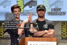 Grant Gustin and Stephen Amell lol!