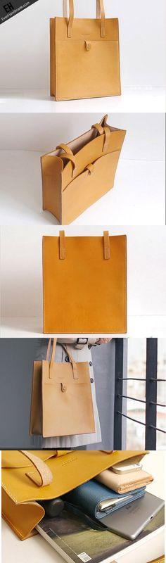 Handmade Leather handbag shoulder tote bag yellow red brown for women leather shopper bag: