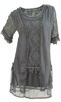 AP Emma Vintage Victorian Blouse In Gray
