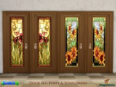 A set of wood doors with stained glass inserts, in four frame colors. Includes beautiful sunflowers and poppies. Found in TSR Category 'Sims 4 Sets'