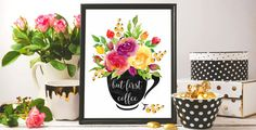 ♥ But first coffee ♥ Coffee art print watercolor  ♥ You can order any size and/or color, quote without changing the price.  ♥ No physical item will be shipped to you. You are purchasing high resolution (300 dpi) digital JPEG files.  Download Includes: 2 JPG files: size: 8 x 10 in (203 x 254 mm) color range: CMYK + RGB ♥ After purchasing a digital file, you'll receive download link with all the files.  ♥ Designs in RGB color range mode are usually for digital communications (meaning images…